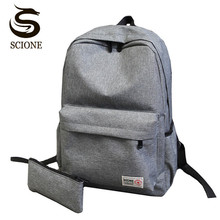 Scione Simple Backpack Fashion Women Men Business Backpack Korean Style Canvas School Bags Solid Black/Gray Color Backpacks Set