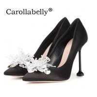 2017 Women Pumps New Glitter Rhinestone High Heels Cinderella Shoes Women Pointed Toe Shoes Woman Crystal