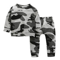 Hot Sale Camo Baby 2 Pcs Spring Outfits Long Sleeve Top Camo Pants Newborn Boy Outfit