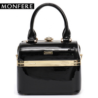 MONFERE Luxury Patent Leather Bag Box Shape Pu Crossbody Bags For Women Metal Socialite Evening Bag