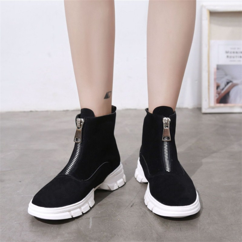NAUSK New PU Leather Ankle Boots Women Fall Winter Flat