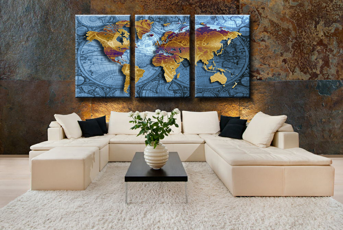 Golden World Map With Blue Sea Large HD Canvas Print Painting - Large world map painting
