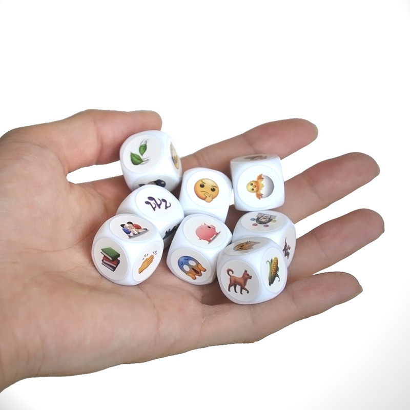 DIY Telling Story Puzzle Board Game Story Dice With Bag/English Rules DIY Blank Dice And Sticker Funny Children Gift