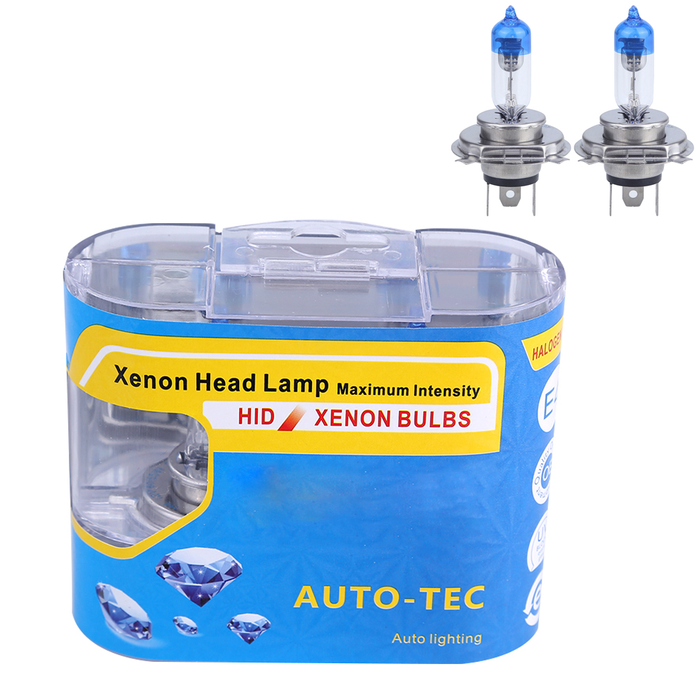 2PCS H4 55w 12v fog lights halogen bulb h4 white halogen 6000k 55w Car Head Lamp Light Car Styling Super Bright 2pcs auto right left fog light lamp car styling h11 halogen light 12v 55w bulb assembly for ford fusion estate ju  2002 2008