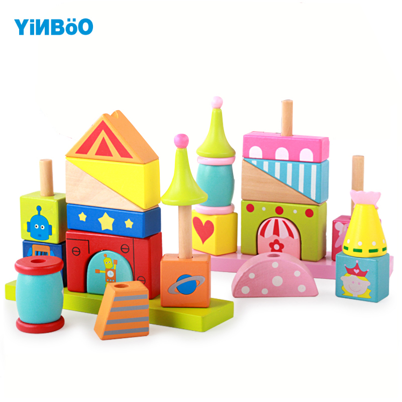 Baby Toys Wooden Block 12 pcs models & building toy for Children montessori education robot princess for kids gift