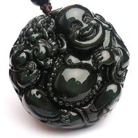 New Arrival,2014 Year Smiling Buddha Obsidian Pendant.Lover's Jewelry.With Certificate Copy.Free shipping.