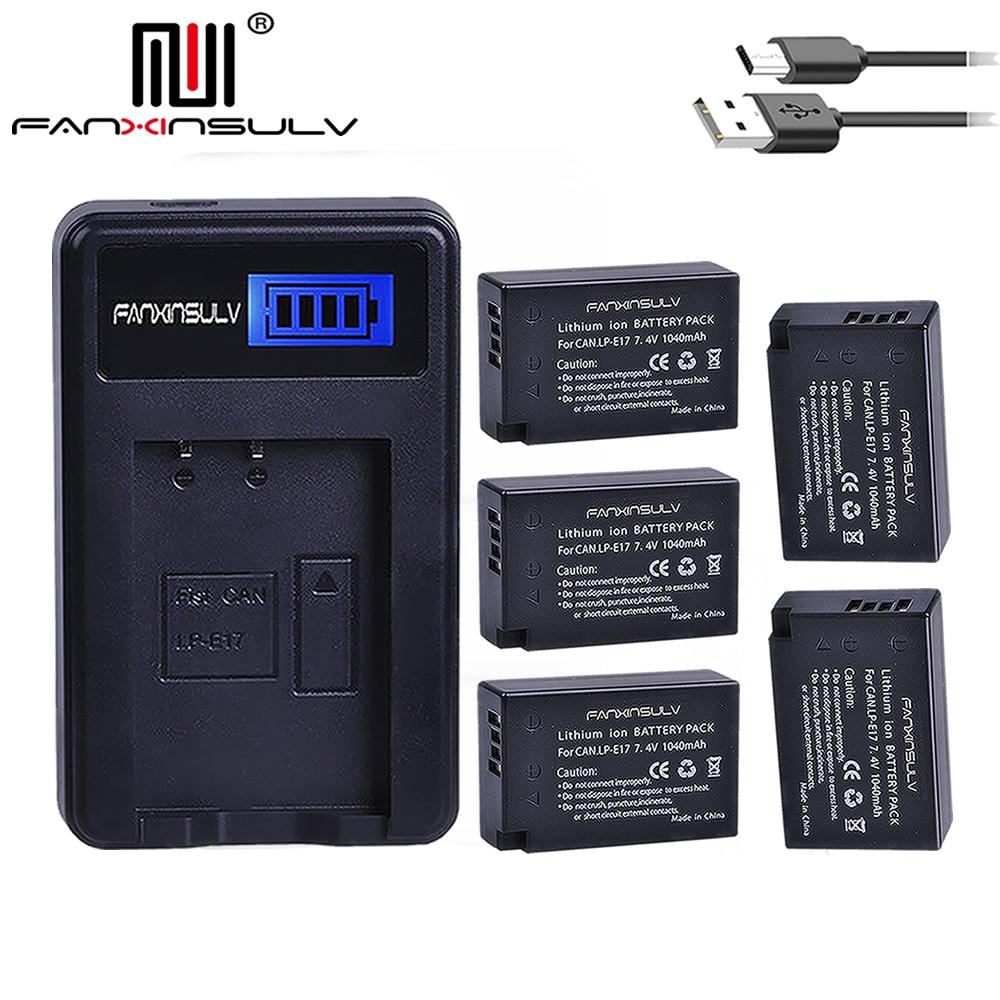 5 x LPE17 LP E17 LP-E17 Batteries + LCD USB Chargeur Pour appareil photo Canon 200D M3 M5 M6 77D 750D 760D T6i T6s 800D 810D 8000D batterie D'appareil Photo