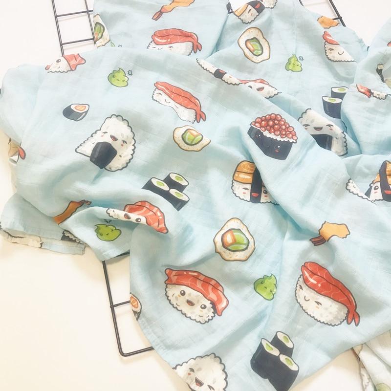 Print Newborn 47 X 47 Inch Baby Muslin Swaddle Blankets Baby Swaddle Blankets Bamboo Cotton Infant Bath Towel Wrap Big Diaper