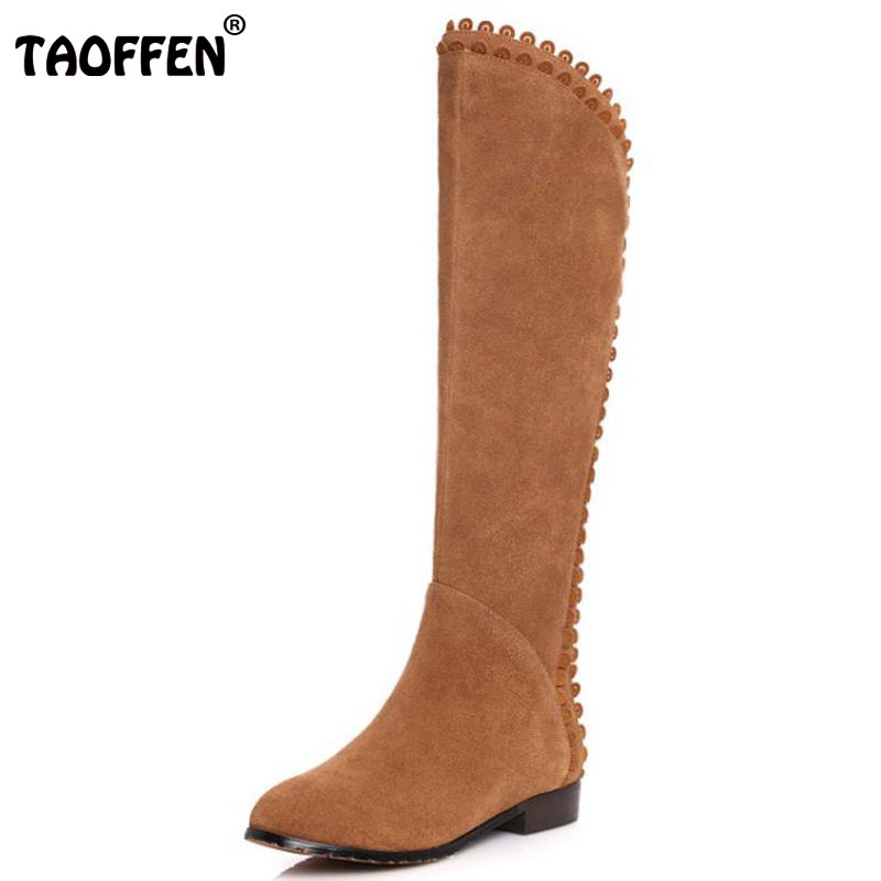 цена на TAOFFEN Size 33-40 Women Real Leather Knee High Winter Boots For Women Ruffles Warm Fur Inside Warm Flat Botas Gladiator Shoes