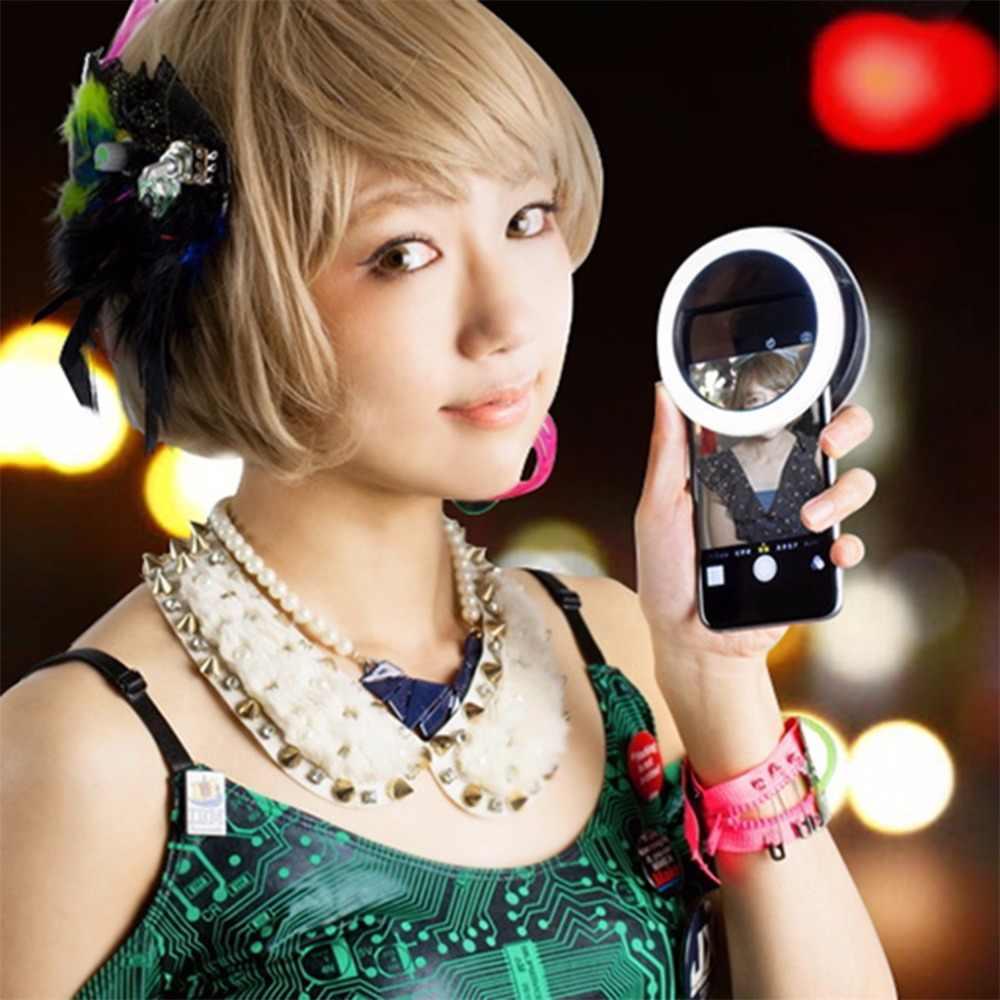 الهاتف المحمول كليب Selfie LED السيارات فلاش ل هاتف محمول الهاتف الذكي جولة المحمولة Selfie مضيا البسيطة كاميرا مضيا