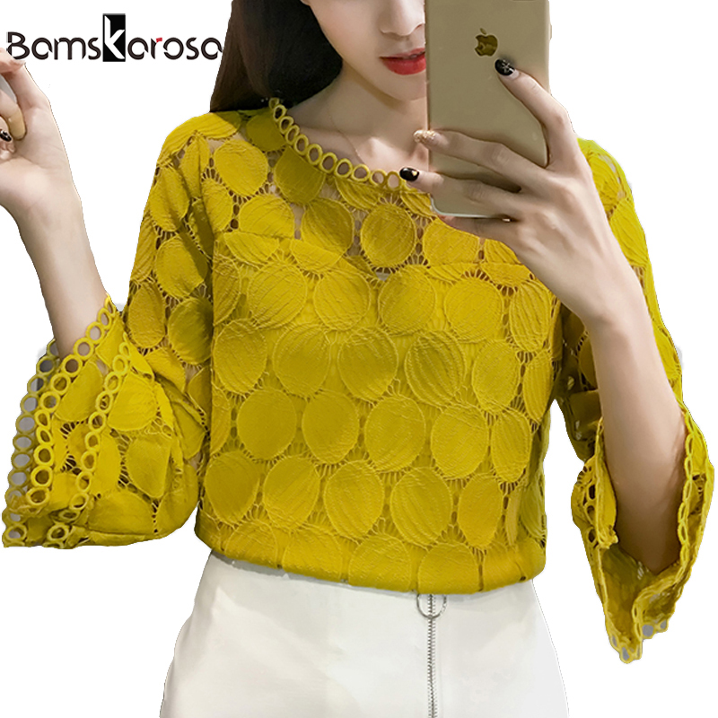 White Lace Blouse Women Shirt 2019 Summer Korean Style Flare Sleeve O-Neck Hollow Out Casual Ladies Lace Tops blusa feminina(China)