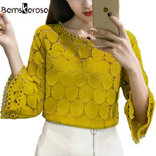Wit Kant Blouse Vrouwen Overhemd 2019 Zomer Koreaanse Stijl Flare Mouw O-hals Hollow Out Casual Dames Kant Tops blusa feminina(China)