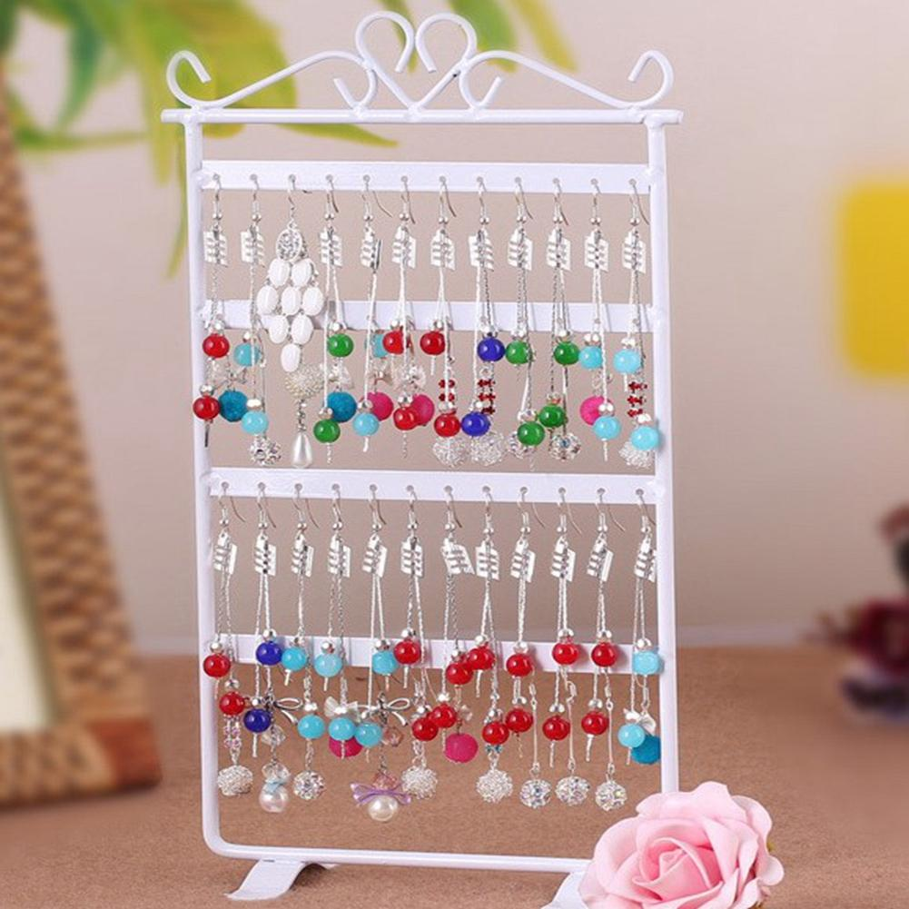 48 Holes Fashion Jewelry Organizer Stand White Metal Earring Holder Pesentoir Fashion Earrings Display Rack Etagere