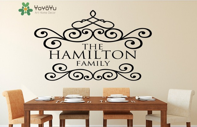 Family name customize wall decal last name family monogram living room dining room decoration wall art
