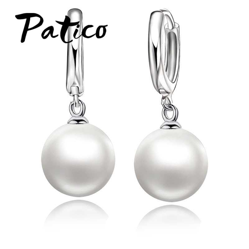 High Quality 925 Sterling Silver White Pearl Earrings Fashionable Earring Accessories For Women/Girls Jewelry Present