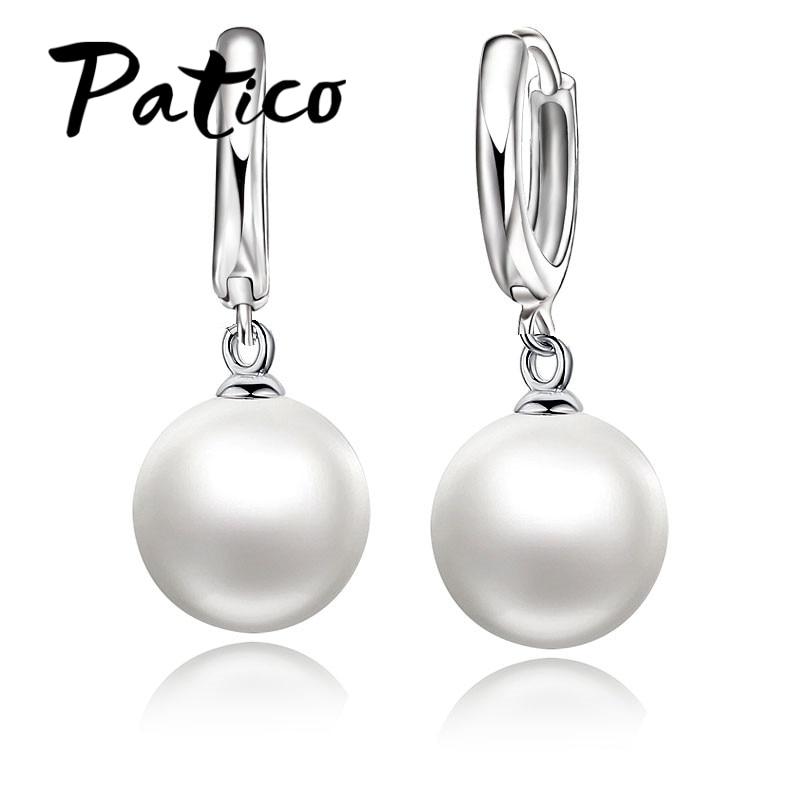 PATICO Fashion Freshwater Pearl Earring Accessories 925 Sterling Silver Pearl Earrings White Pearl Hoop Earrings For Women/Girls
