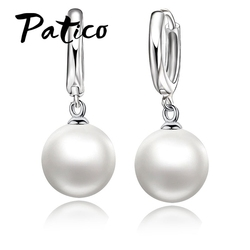 PATICO High Quality 925 Sterling Silver White Pearl Earrings Fashionable Earring Accessories For Women/Girls Jewelry Present