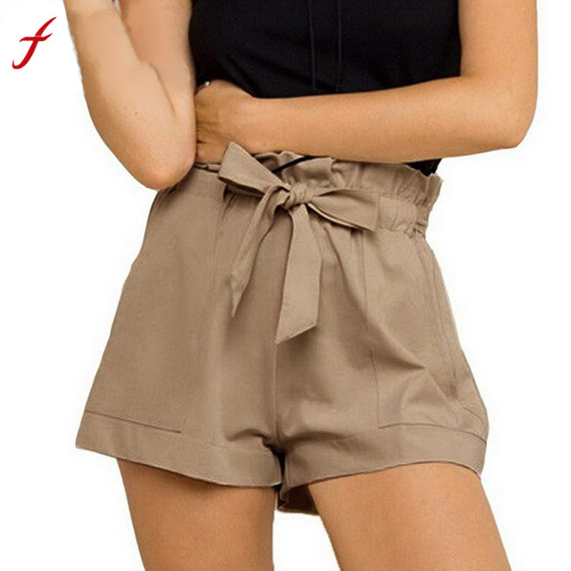 f1ed0803f Short feminino Bermuda Moda Feminina Com Cinto de mulheres de cintura alta  curto Solto pantalon corto