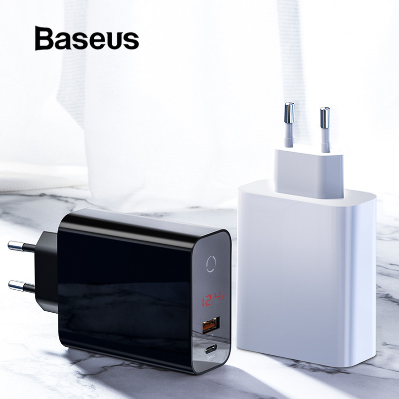Baseus 45W Quick Charge 4.0 3.0 USB Charger for iPhone XR X XS USB Type C PD3.0 5A Fast Charging Charger for Huawei Wall Charger