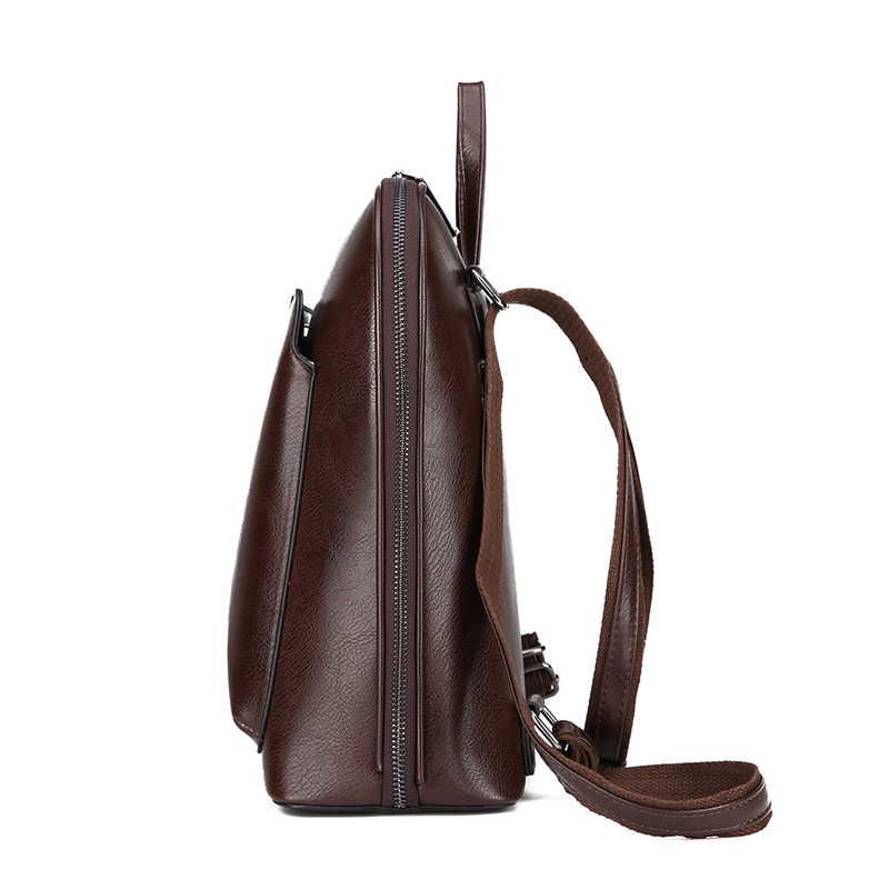 Винтажный женский рюкзак, школьные сумки для девочек-подростков, сумка на плечо, женские рюкзаки из вощеной кожи, Mochilas Mujer 2018