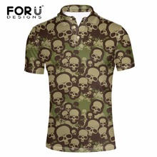 FORUDESIGNS Men Polo Shirt PP Skull Fashion Short Sleeve Cool Mercerized Cotton Slim Fit Casual Business Shirts Luxury Brand