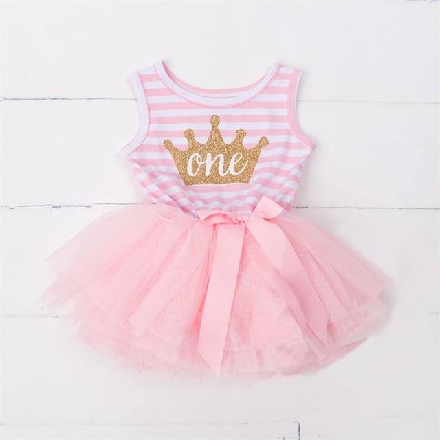3247cd8b2b3 Baptism Vestido Summer Baby Girls Baptism Clothes Tutu Dress Gold Crown One  Two Little Girl Dress
