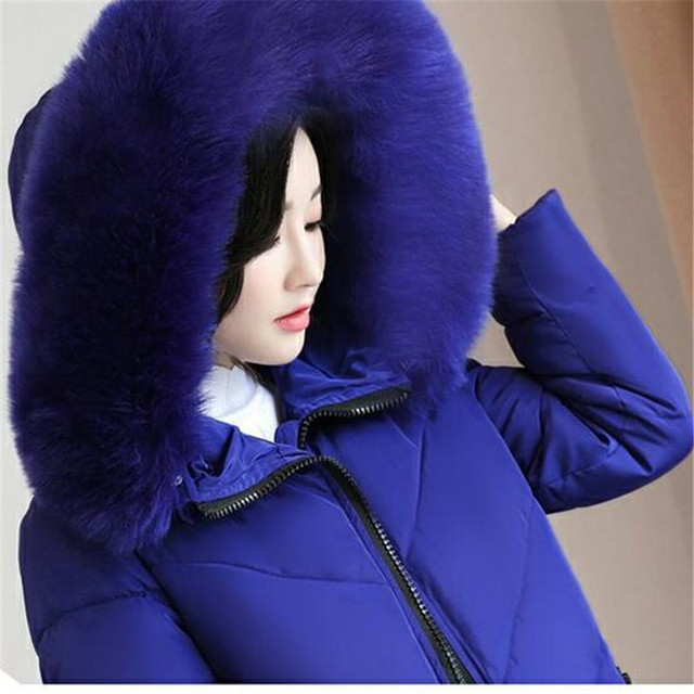 Plus size Winter Jacket New Style Women Down Cotton Overcoat Thick Warm Coat Elegant Slim Hooded Fur collar Jacket Female