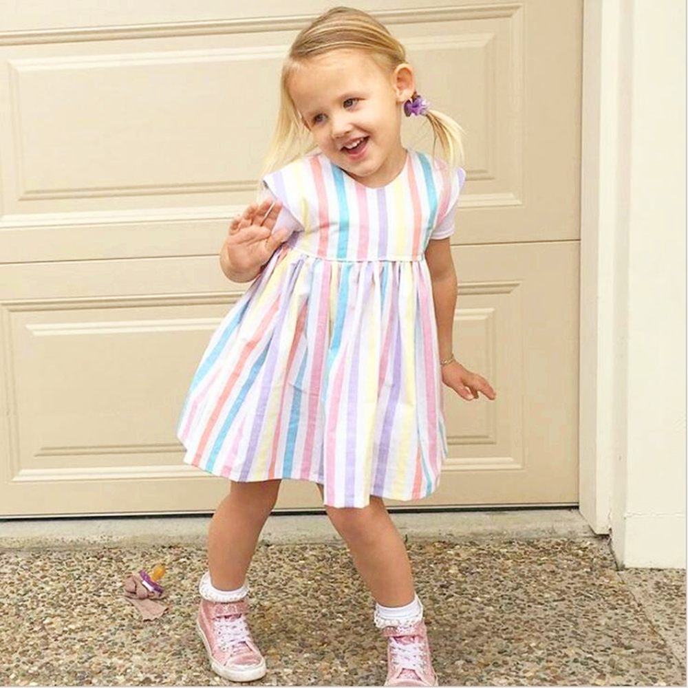 Фото Summer Rainbow Striped Girls Dress Cute Princess Dresses For Girl Baby Clothes GT5