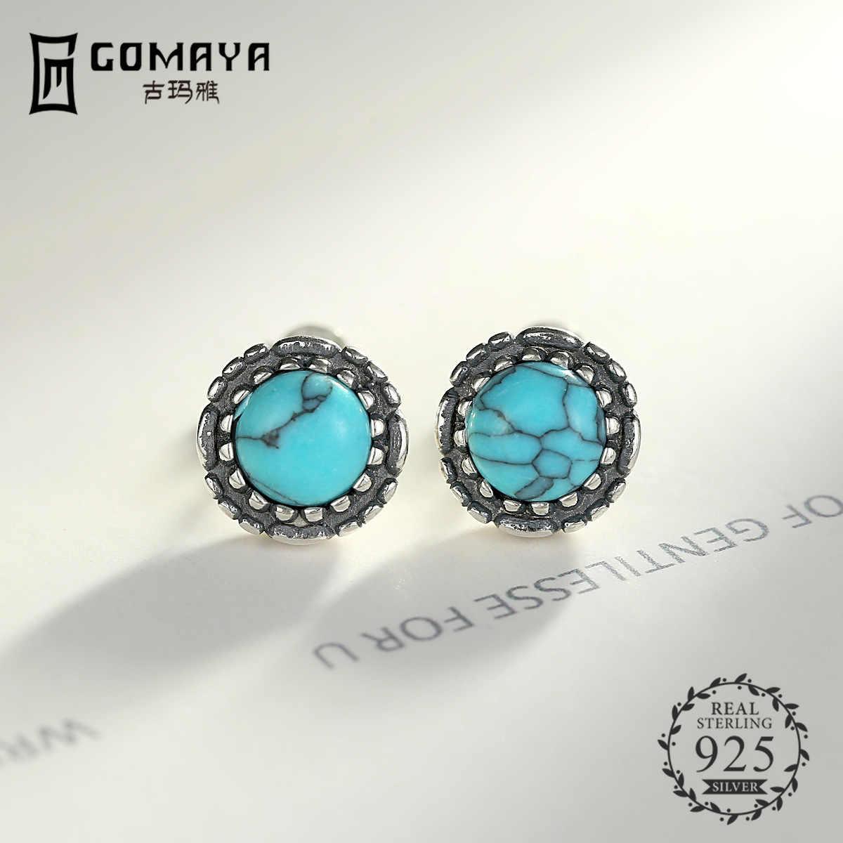 GOMAYA 100% 925 เงินสเตอร์ลิงเครื่องประดับต่างหูแฟชั่น Vintage Turquoise อัญมณีต่างหูสตั๊ดของขวัญ