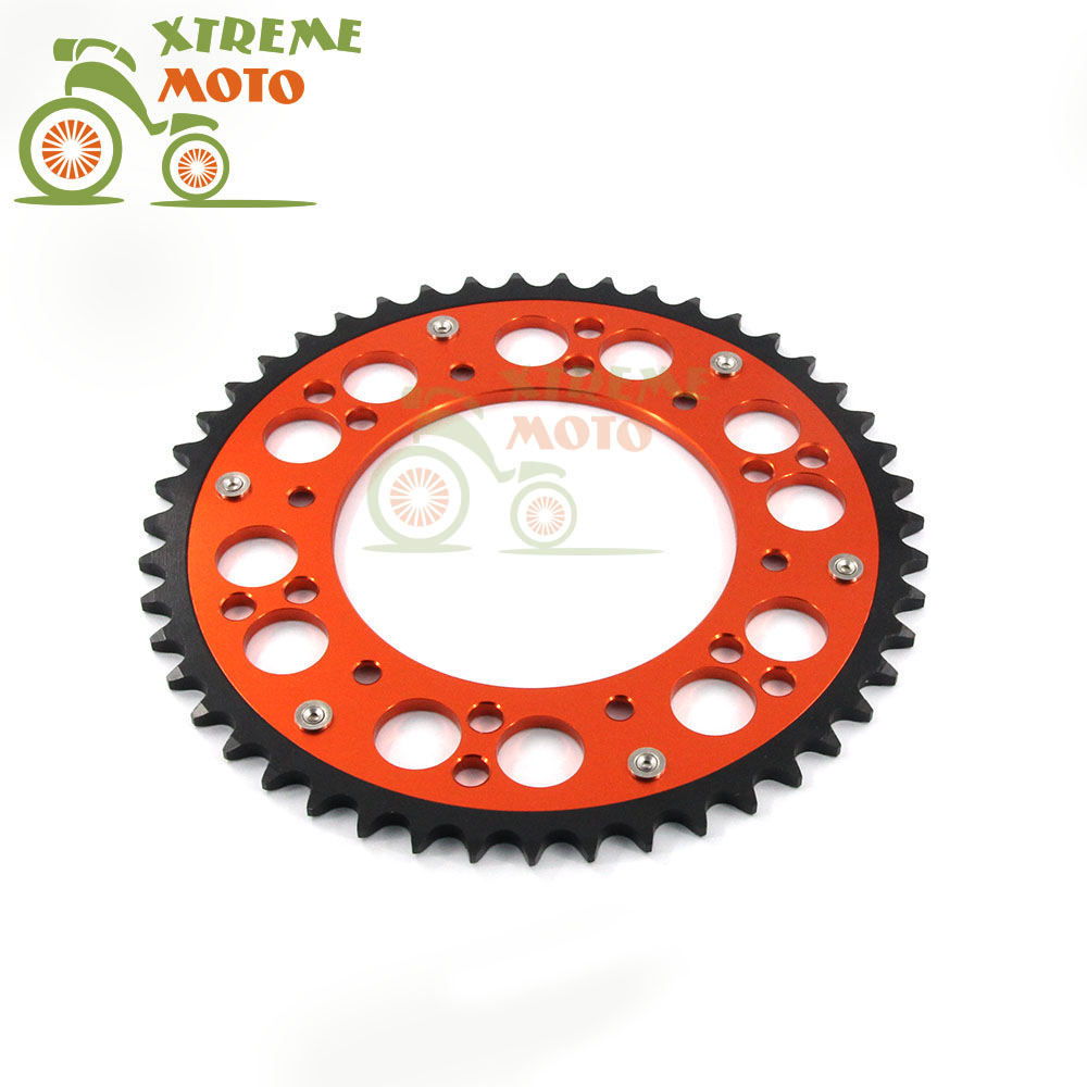 48T CNC Rear Chain Sprocket For KTM 125 150 200 250 300 400 450 520 525  EXC SX MXC XC XCW EGS SXF XCF XCWF MX SMR MSC Motocross orange cnc billet factory oil filter cover for ktm sx exc xc f xcf w 250 400 450 520 525 540 950 990