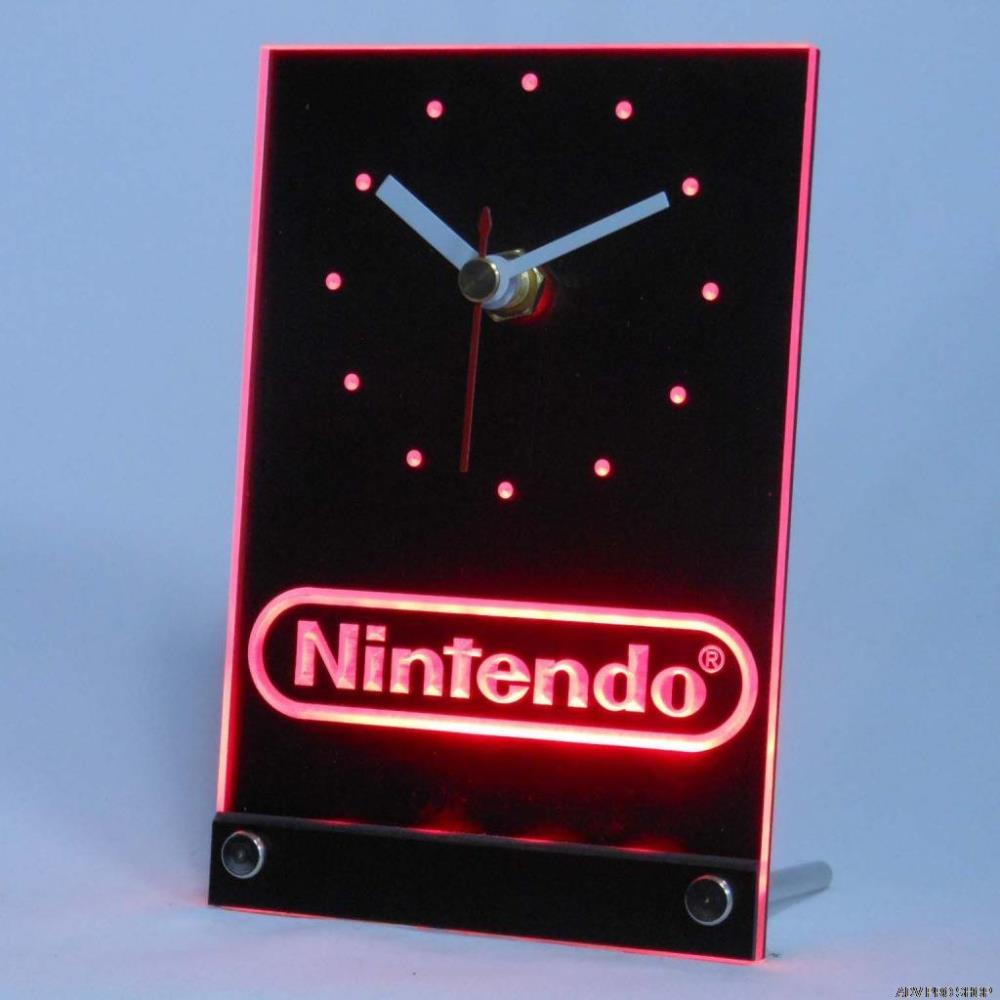Tnc0196 Nintendo Game Room Table Desk 3D LED Clock