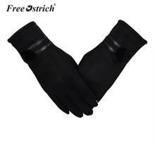 Free Ostrich Women Gloves Winter Warm Faux Leather Fashion Soft Wrist Gloves Mittens Womens Touchscreen Gloves A3120 cheap Polyester Cotton Adult Solid winter gloves Gloves Mittens leather gloves