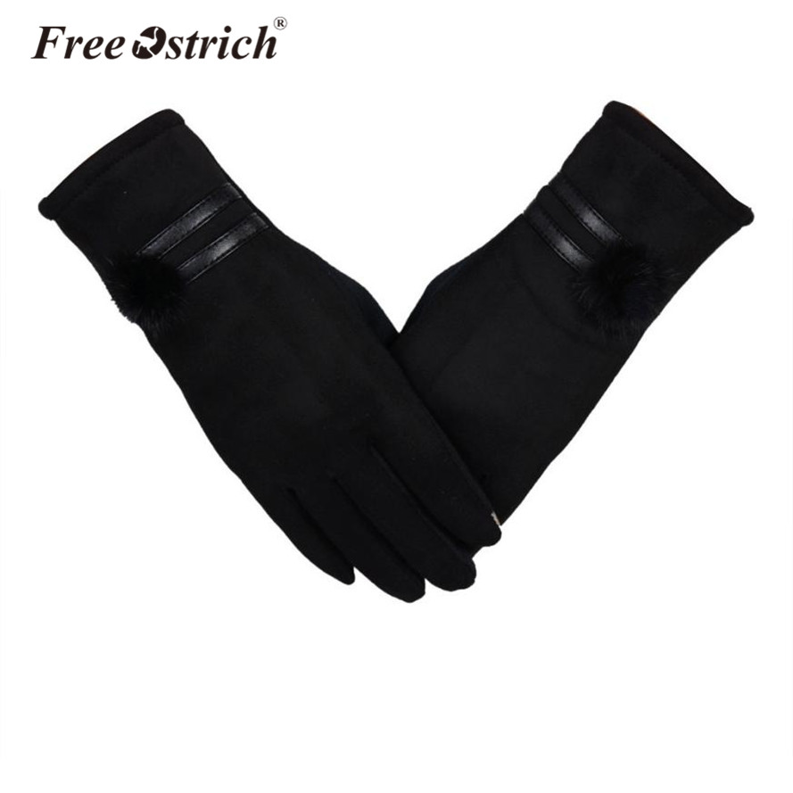 Free Ostrich Women Gloves Winter Warm Fa