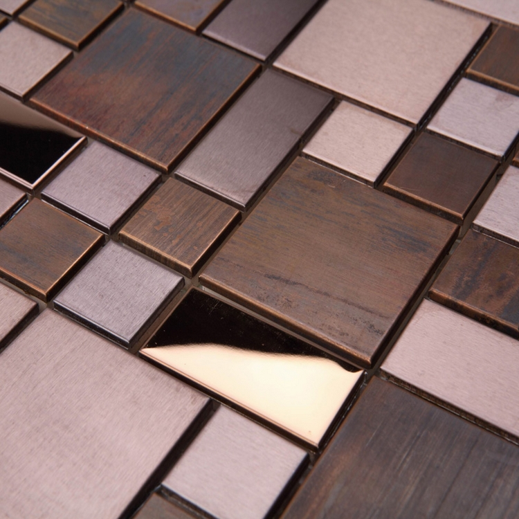 Buy classic square bronze metal mosaic for Center carrelage jambes