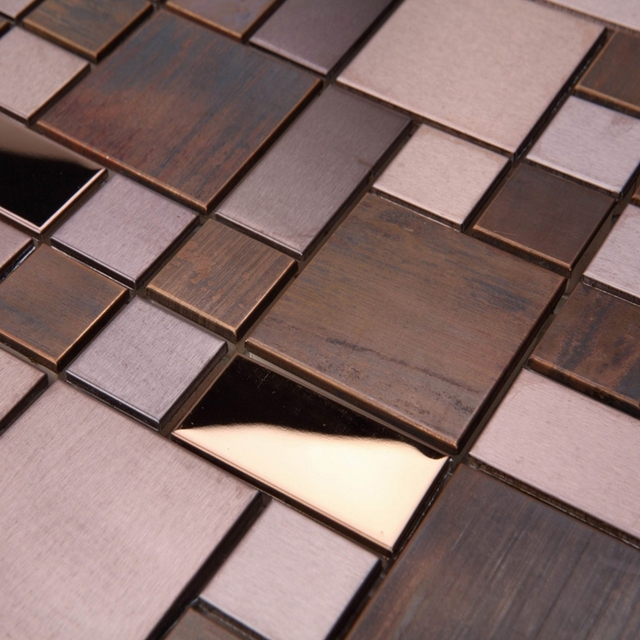 Clic Square Bronze Metal Mosaic Tiles For Bathroom Shower Dining Room Wall Tile