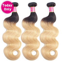 TODAY ONLY 1/3/ 4 Bundles Blonde Brazilian Body Wave Bundles Brazilian Hair Weave Bundles Ombre Human Hair Bundles 2 Tone 1b 27(China)