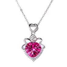 лучшая цена gemstone fine jewelry new-designed romantic white 925 sterling silver natural pink topaz heart necklace pendant for female