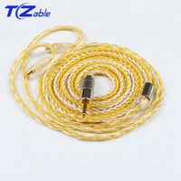 3.5mm Audio Cable DIY Earphone For A2DC Pin 3.5mm Jack Male Audio Connector Cable 16 Strands Single Crystal Copper Silver Plated