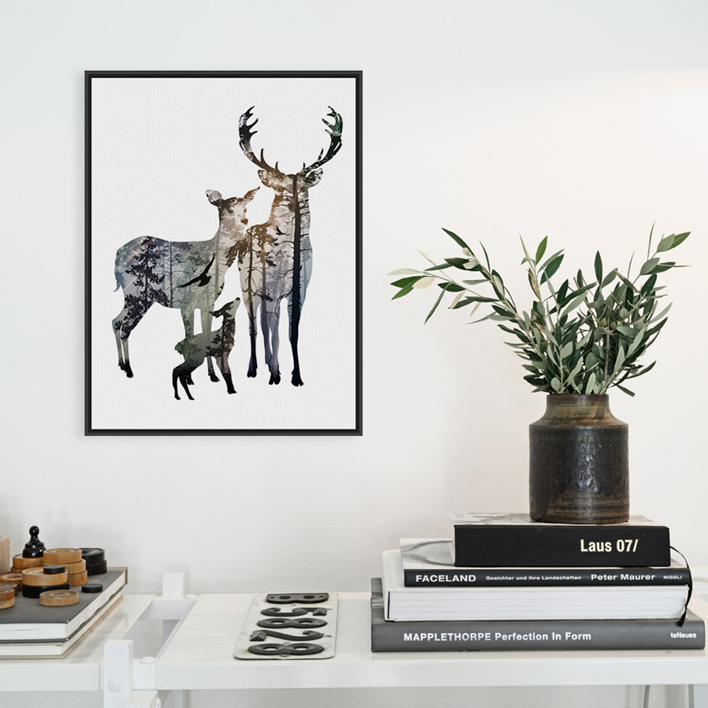 Modern Nordic Vintage Deer Head Family Animal Silhouette Hipster