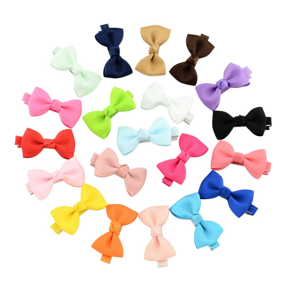 20pcs/lot 1.77 Inch Colorful Barrettes For Baby Girls Boutique Hair Clip Bows Ribbon Hairpins Hairgrip Headwear For Children 659