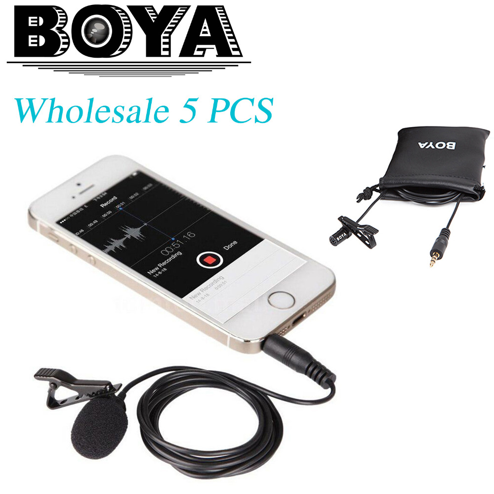 En gros 5 pcs boya by-lm10 omnidirectionnel cravate microphone pour iphone 7 6 5 4S sumsang galaxy 4 lg g3 htc one smartphones