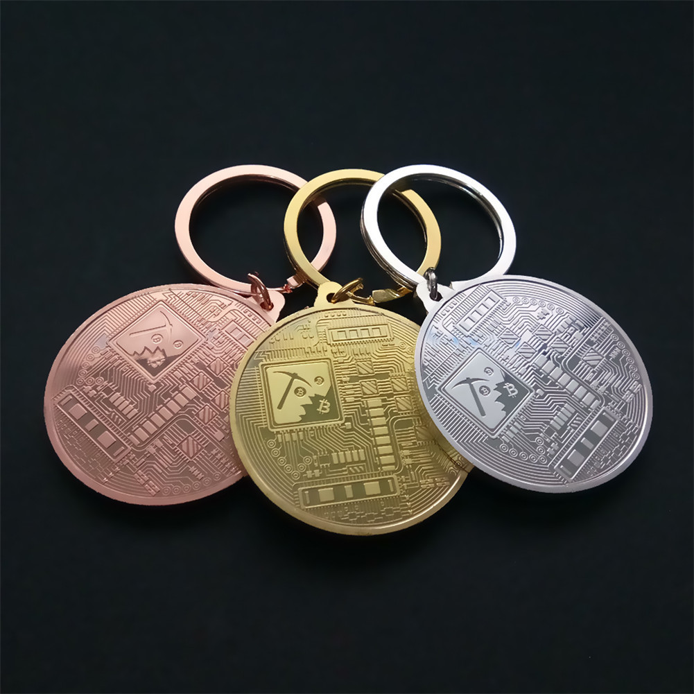 2018 New Gold Plated Bitcoin Coin Key Chain BTC Coin Art Collection Souvenirs Collectibles Business Gifts And Holiday DecoGifts-3