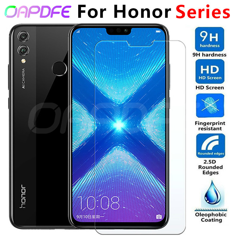 9 H verre de protection pour Huawei Honor 8X 8C 8A V20 V10 V9 Play 9i 10i 20i Note 10 Magic 2 Film de protection d'écran en verre trempé