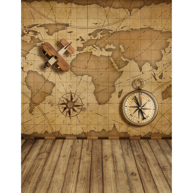 World Map Wall Photography Backdrop Wood Floor Printed Compass ...