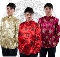 Novo 2017 dos homens men's clothing longo-luva cheongsam tang terno top estilo chinês vestido formal roupas nacionais seda