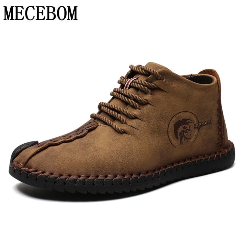 Men Snow Boots Warm Fur Plush Autumn Men Casual Shoes Khaki Quality PU Ankle Boots Men Shoes Botas hombre Plus Size 38-48 6015m 4