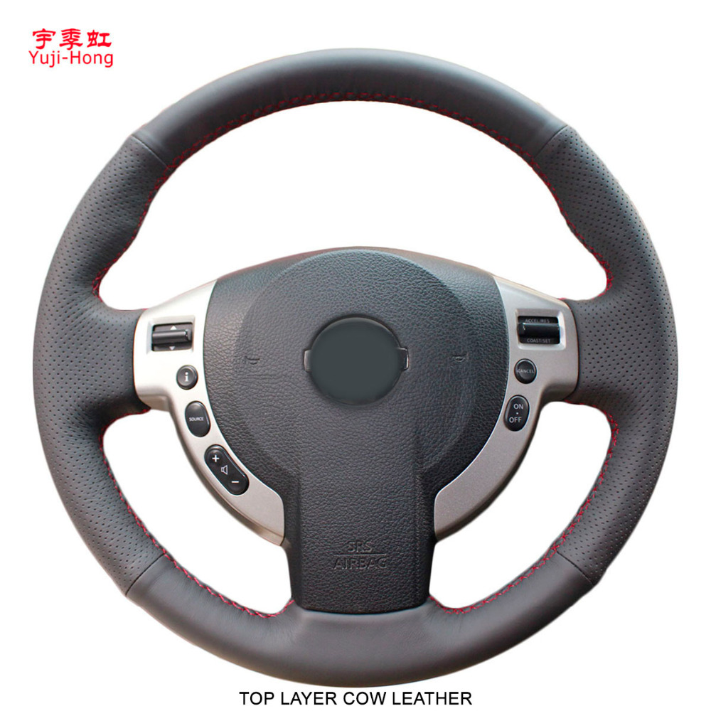 Yuji Hong Top Layer Cow Leather Car Steering Wheel Covers Case for Nissan Qashqai Rouge X