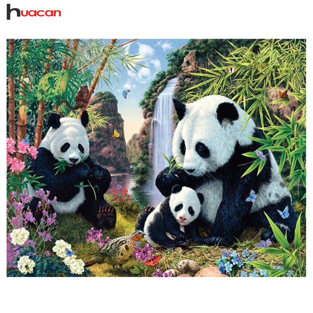 HUACAN Diamond Embroidery Animals Panda Picture Of Rhinestones Diamond Painting Cross Stitch Full Round Mosaic Kits brochure