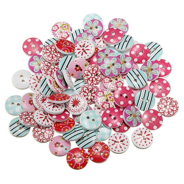 50pcs/lot Circular Button Random Mix Wooden Painting Buttons Craft Scrapbook Sewing Accessories
