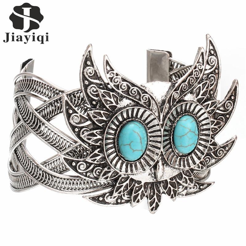 2017 Hot Vintage Silver color Owl Head Shaped Green Stone Stone Bangeles Fashion Bracelets for Women Christmas Gift Bracelets